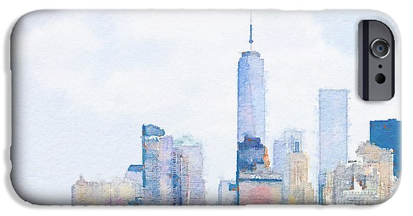Twin Towers Nyc Digital iPhone Cases - Freedom Tower New York City Skyline iPhone Case by Stephen Beveridge