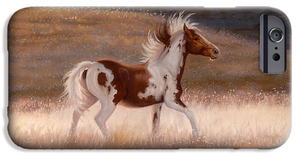 The Horse Pastels iPhone Cases - Freedoms Dance iPhone Case by Marilyn Gregory