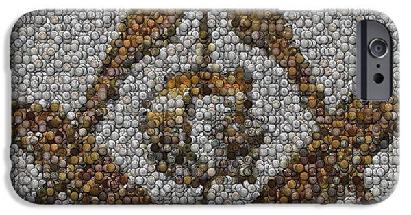 Coins Mixed Media iPhone Cases - Freemason Coin Mosaic iPhone Case by Paul Van Scott