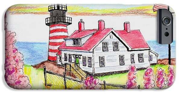 Maine Drawings iPhone Cases - Freeport Maine iPhone Case by Paul Meinerth