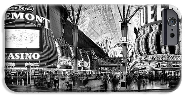 Traffic Sign iPhone Cases - Fremont Street Casinos BW iPhone Case by Az Jackson