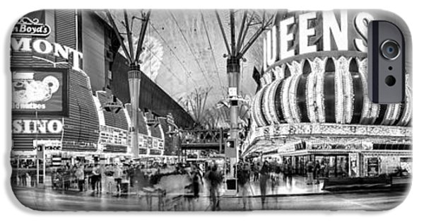 Traffic Sign iPhone Cases - Fremont Street Experience BW iPhone Case by Az Jackson