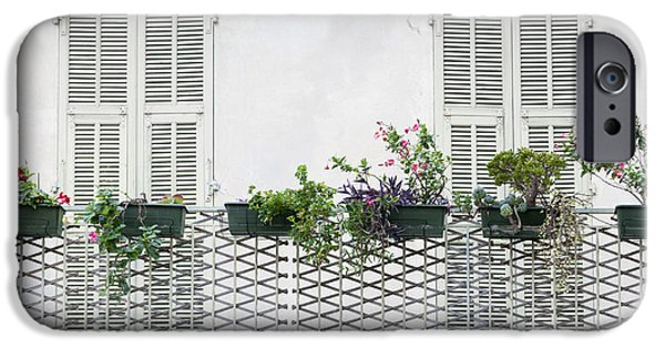 Balcony iPhone Cases - French balcony with shutters iPhone Case by Elena Elisseeva