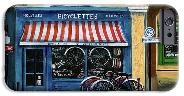 Boxes Paintings iPhone Cases - French Bicycle Shop iPhone Case by Marilyn Dunlap