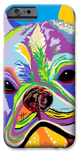 Recently Sold -  - Abstract Digital iPhone Cases - French Bulldog iPhone Case by Eloise Schneider