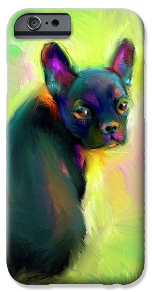 French Bulldog iPhone Cases - French Bulldog painting 4 iPhone Case by Svetlana Novikova