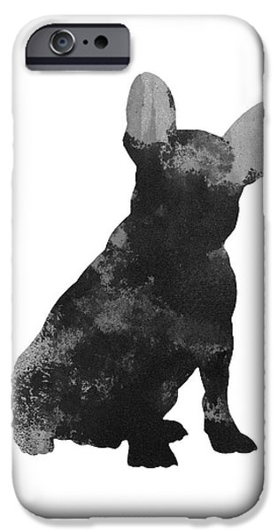 Dog Jewelry iPhone Cases - French bulldog silhouette minimalist painting iPhone Case by Joanna Szmerdt