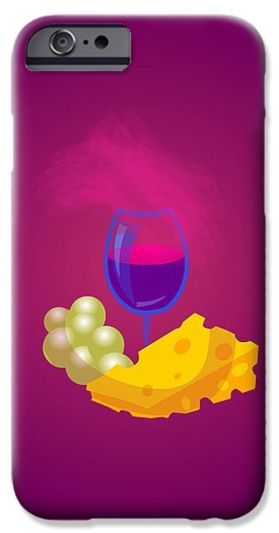 Snack Drawings iPhone Cases - French Cheese And Glass Of Wine iPhone Case by Dragana  Gajic