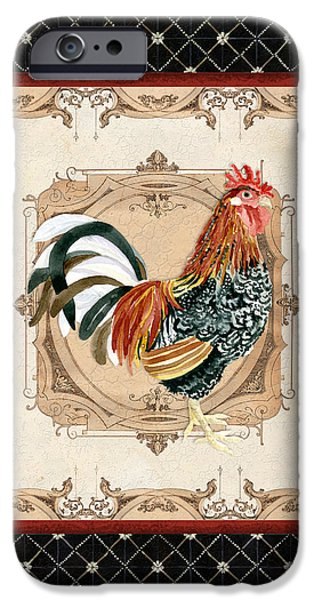 Timeless Design Paintings iPhone Cases - French Country Roosters Quartet Black 1 iPhone Case by Audrey Jeanne Roberts