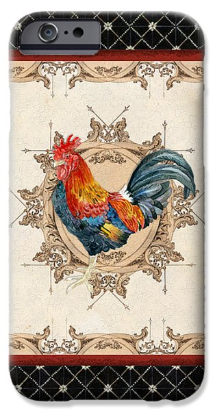 Hand-watercolored iPhone Cases - French Country Roosters Quartet Black 2 iPhone Case by Audrey Jeanne Roberts