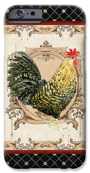 Timeless Design Paintings iPhone Cases - French Country Roosters Quartet Black 3 iPhone Case by Audrey Jeanne Roberts