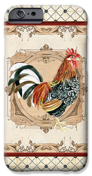 Barns Mixed Media iPhone Cases - French Country Roosters Quartet Cream 1 iPhone Case by Audrey Jeanne Roberts