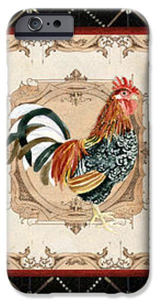 Hand-watercolored iPhone Cases - French Country Vintage Style Roosters - Triplet iPhone Case by Audrey Jeanne Roberts