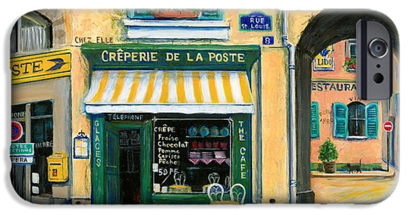 Window Paintings iPhone Cases - French Creperie iPhone Case by Marilyn Dunlap
