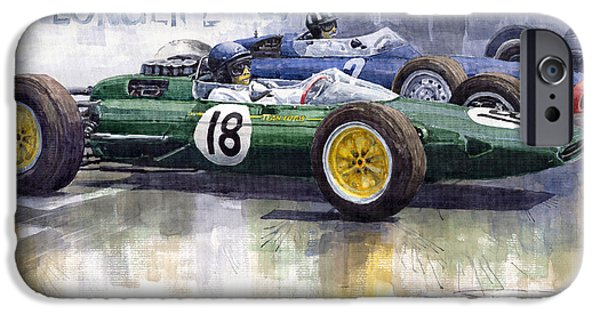 Retro Sport Car iPhone Cases - French GP 1963 Start Lotus vs BRM iPhone Case by Yuriy  Shevchuk