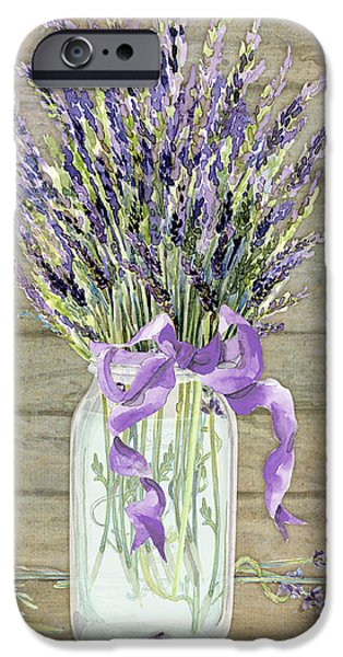Board Mixed Media iPhone Cases - French Lavender Rustic Country Mason Jar Bouquet on Wooden Fence iPhone Case by Audrey Jeanne Roberts