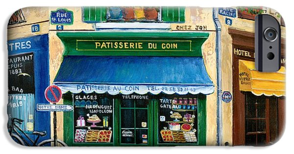 Window Paintings iPhone Cases - French Pastry Shop iPhone Case by Marilyn Dunlap