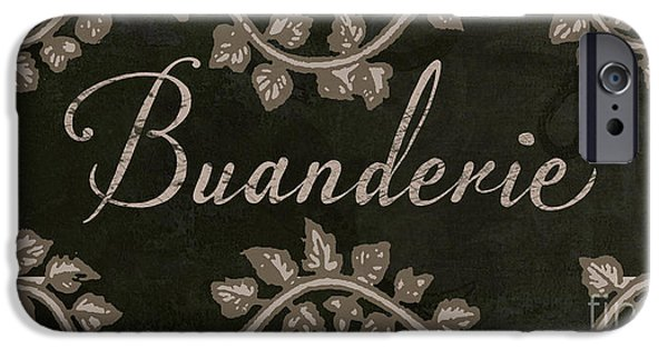 Laundry Paintings iPhone Cases - French Vintage Laundry Sign iPhone Case by Mindy Sommers