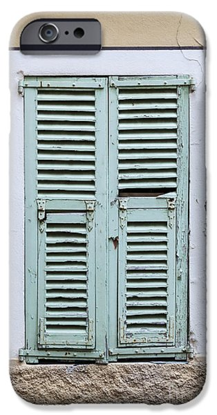 Facade iPhone Cases - French window with shutters iPhone Case by Elena Elisseeva