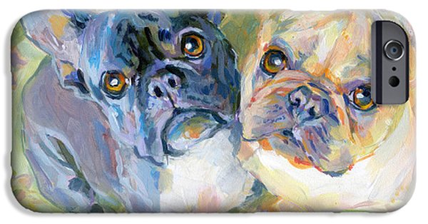 Black Dog iPhone Cases - Frenchies iPhone Case by Kimberly Santini