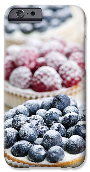 Tasty Photographs iPhone Cases - Fresh berry tarts iPhone Case by Elena Elisseeva