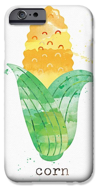 Healthy Mixed Media iPhone Cases - Fresh Corn iPhone Case by Linda Woods