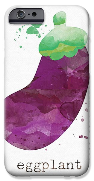 Healthy Mixed Media iPhone Cases - Fresh Eggplant iPhone Case by Linda Woods
