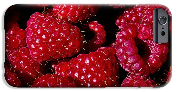 Raspberry iPhone Cases - Fresh Picked Raspberries iPhone Case by David Patterson