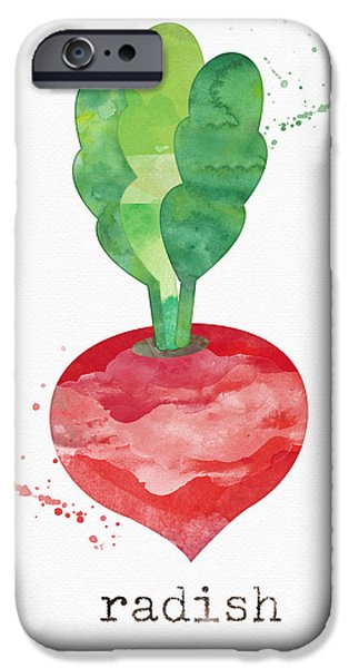 Healthy Mixed Media iPhone Cases - Fresh Radish iPhone Case by Linda Woods