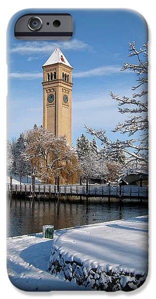 FRESH SNOW in RIVERFRONT PARK - SPOKANE WASHINGTON iPhone Case by Daniel Hagerman