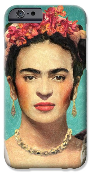 Diego Rivera iPhone Cases - Frida Kahlo iPhone Case by Taylan Soyturk
