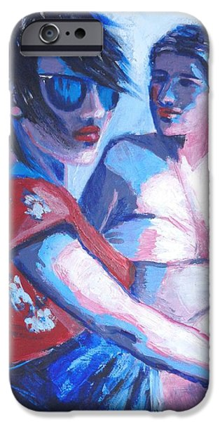 Young Paintings iPhone Cases - Friends - Girls On Holiday iPhone Case by Carmen Tyrrell