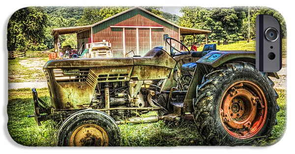 Old Barns iPhone Cases - Friends with Tractors iPhone Case by Debra and Dave Vanderlaan