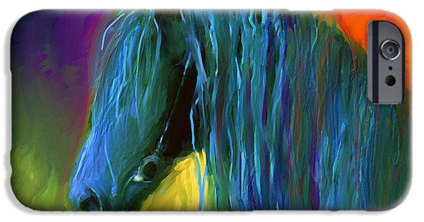 Austin Artist Digital Art iPhone Cases - Friesian Horse painting 2 iPhone Case by Svetlana Novikova