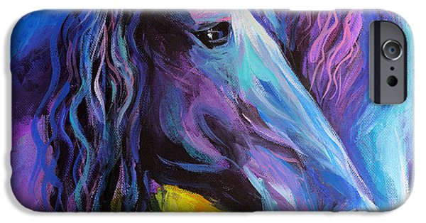 Equestrian Prints iPhone Cases - Friesian horses painting iPhone Case by Svetlana Novikova