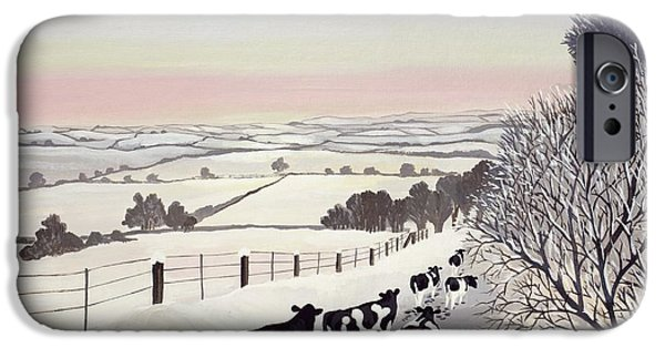 Farmland iPhone Cases - Friesians in Winter iPhone Case by Maggie Rowe