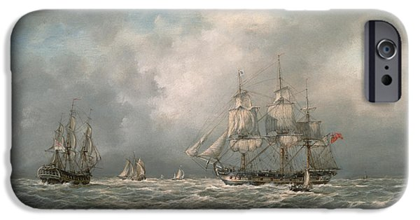 Pirate Ships Paintings iPhone Cases - Frigate Awaiting a Pilot iPhone Case by Richard Willis