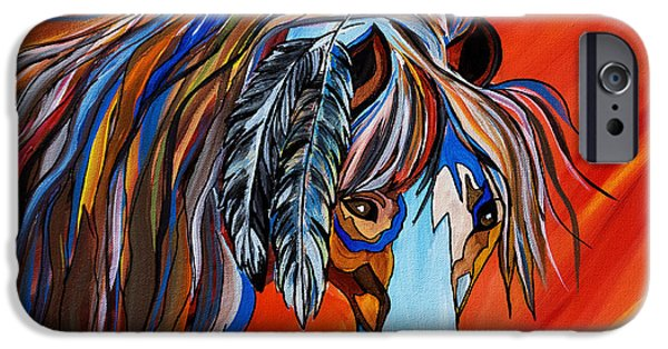 Modern Abstract iPhone Cases - Frisco War Horse iPhone Case by Janice Rae Pariza