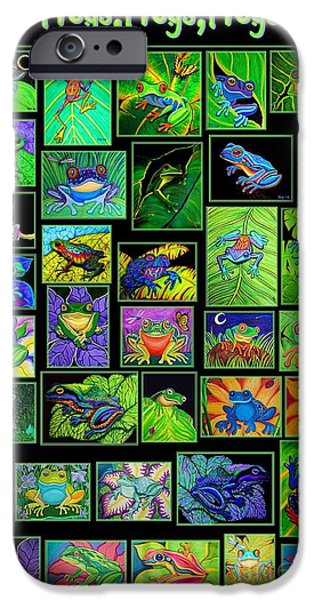 Amphibians Digital Art iPhone Cases - Frogs Poster iPhone Case by Nick Gustafson