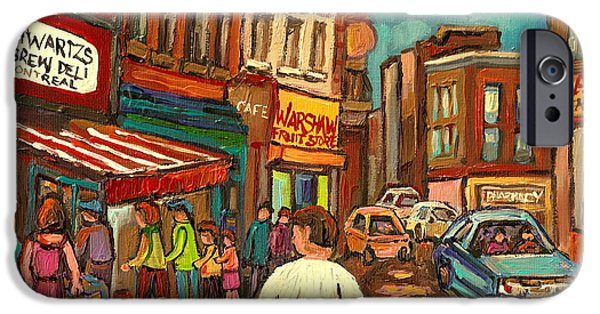 Lubavitcher iPhone Cases - From Schwartzs To Warshaws To The  Main Steakhouse Montreals Famous Landmarks By Carole Spandau  iPhone Case by Carole Spandau