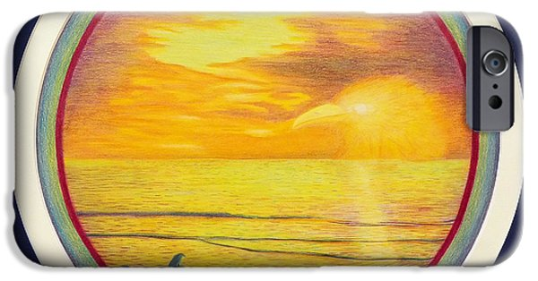 Ocean Sunset Drawings iPhone Cases - From The Beginning iPhone Case by Brian  Commerford