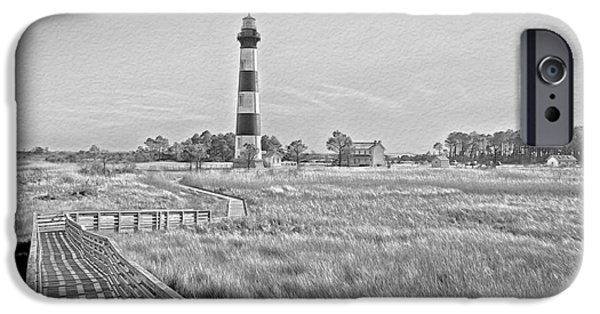 White House iPhone Cases - From The Waters Edge Black and White iPhone Case by Tom Gari Gallery-Three-Photography