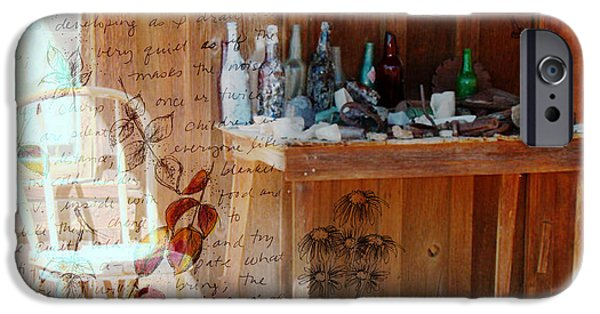 Cabin Window Mixed Media iPhone Cases - Front Porch Table iPhone Case by Cathie Richardson