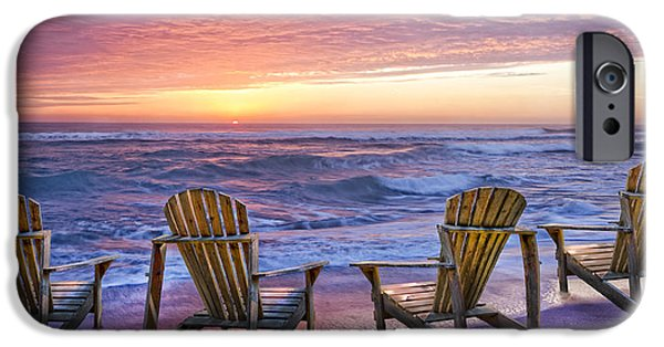 Adirondack Chairs On The Beach iPhone Cases - Front Row Seats iPhone Case by Debra and Dave Vanderlaan