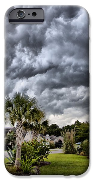 Palm Tree Greeting Cards iPhone Cases - Frontal Clouds iPhone Case by Dustin K Ryan