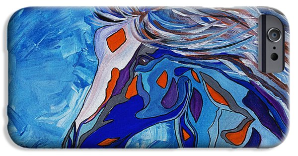 Graphic Design iPhone Cases - Frost Abstract Horse iPhone Case by Janice Rae Pariza