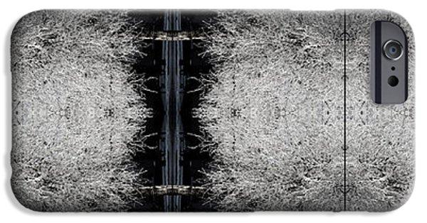 Floral Digital Art Digital Art iPhone Cases - Frost Tree Pattern iPhone Case by Elizabetha Fox