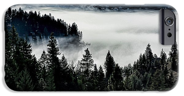 Fog Mist iPhone Cases - Frosted Lake iPhone Case by Raven Deel