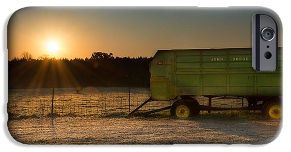 Farm Tapestries - Textiles iPhone Cases - Frosty John Deere Sunrise iPhone Case by James Hennis