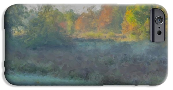 Mcentee Paintings iPhone Cases - Frosty Morning at the Sheep Pasture Easton MA iPhone Case by Bill McEntee